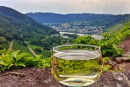 Glas Wein vor Mosel Panorama